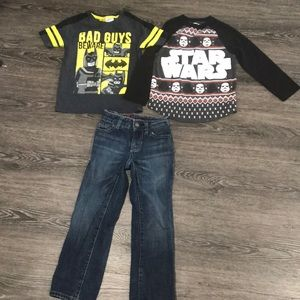 Size 4-5 jeans and 2 shirts bundle